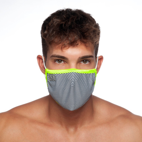 Addicted AC121 Thin Stripes Face Mask Navy (Filtration Efficiency BFE > 80%) (AC121-09)