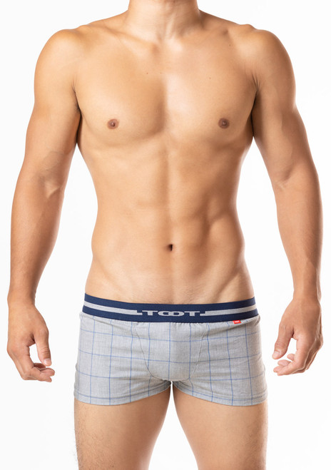 TOOT Underwear Windowpane Plaid Fitted Boxer Shorts Gray (HT03J369-Gray)