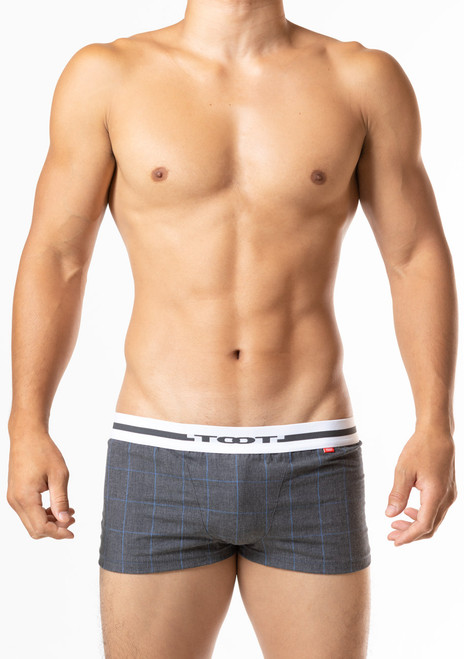 TOOT Underwear Windowpane Plaid Fitted Boxer Shorts Charcoal (HT03J369-Charcoal)