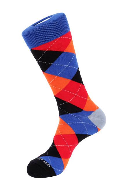 Unsimply Stitched Men's Socks Argyle Blue-Orange