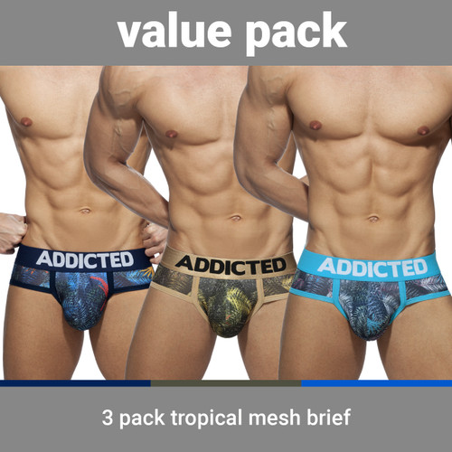 Addicted Underwear 3-Pack Tropical Mesh Brief Push Up (AD889P-3COL)