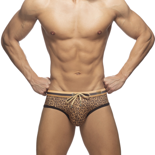 Addicted Swimwear Leopard Stripes Swimbrief Tan (ADS267-13)