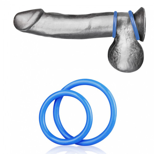 Blueline Silicone Cock Ring Set  Blue