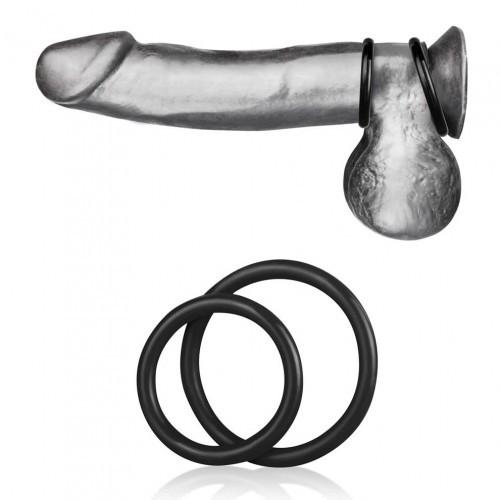 Blueline Silicone Cock Ring Set Black