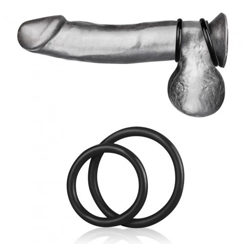 Blueline Silicone Cock Ring Set Black