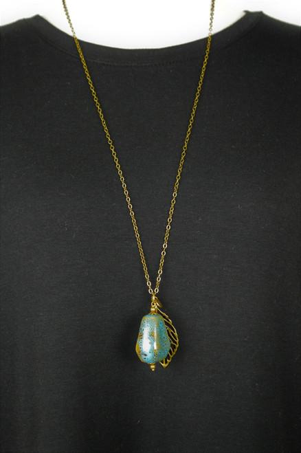 Leaf & Stone Necklace