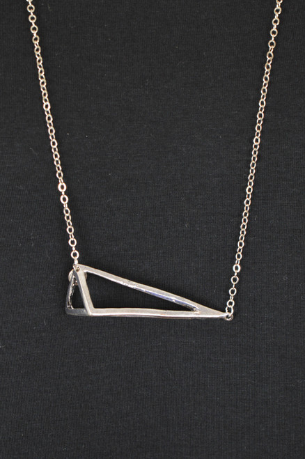 Triangle Necklace - Antique Silver