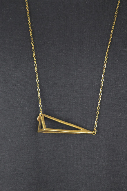 Triangle Necklace - Antique Brass