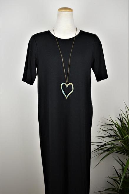 Big Heart Necklace - Aqua