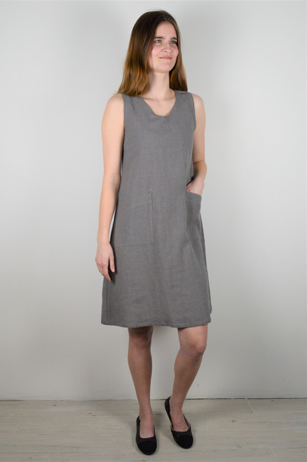 Sleeveless Linen Dress - Grey
