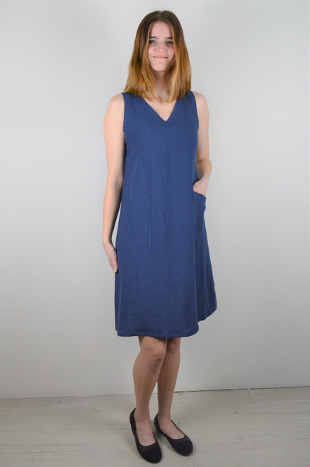 Sleeveless Linen Dress - Blue