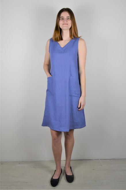 Sleeveless Linen Dress - Periwinkle
