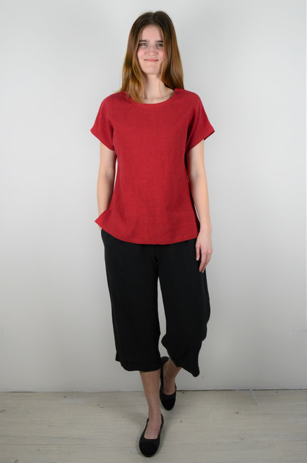 Short Sleeve Linen Top - Red