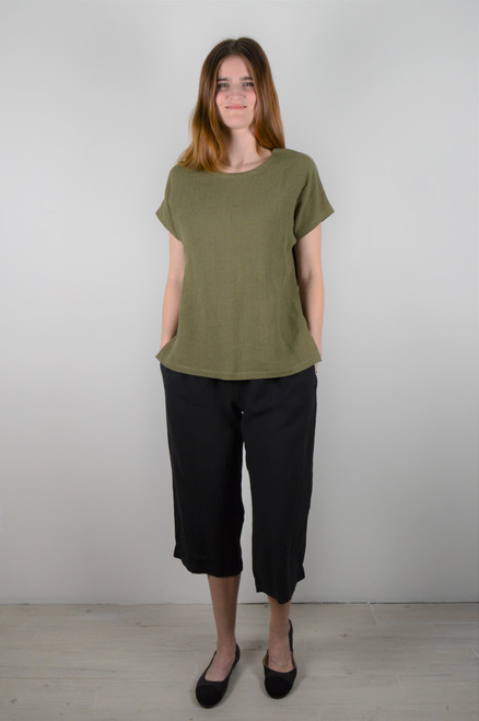Short Sleeve Linen Top - Olive