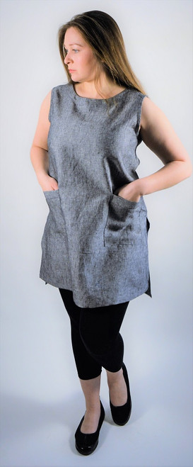 Sleeveless Linen Tunic - Charcoal