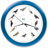 KooKoo - Cuckoo & Exotic European Birds - Wall Clock - Blue Rim
