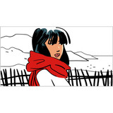 Stretched canvas art print 'Girl with red scarf' by Laurent Lalo