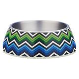 Blue Zig Zag Design Pet Bowl by Gummi Pets