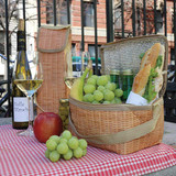 Wicker print insulated lunch bag and wine cooler picnic set by Kikkerland | The Design Gift Shop