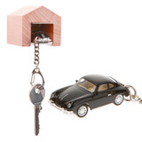Porsche 356 A keyring with beech wood garage | The Design Gift Shop