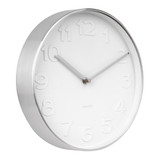 Karlsson Mr White Numbers Steel Small wall clock with white dial and polished rim- Ø 27.5