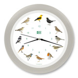 KooKoo - Singvögel - European Songbirds - Wall Clock - Silk-Grey Rim | the design gift shop