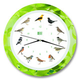 KooKoo - Singvögel - European Songbirds - Wall Clock - Green Leaf Rim | the design gift shop