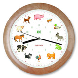 KooKoo - KidsWorld - Farm Animals - Wall Clock - Wood Rim | the design gift shop