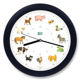 KooKoo - KidsWorld - Farm Animals - Wall Clock - Blue-Black Rim | the design gift shop