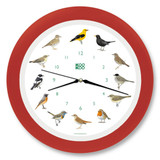 KooKoo - Singvögel - European Songbirds - Wall Clock - Strawberry-Red Rim | the design gift shop