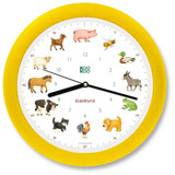 KooKoo - KidsWorld - Farm Animals - Wall Clock - Yellow Rim | the design gift shop