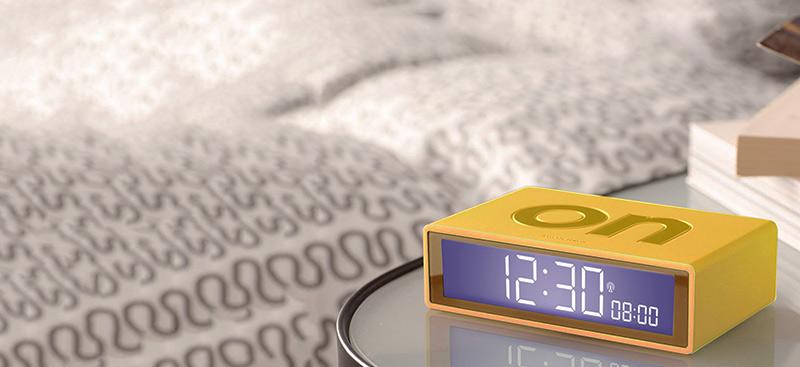 lexon flip alarm clock yellow