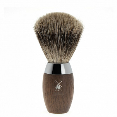 MUHLE shaving brush H873, fine badger hair, bog oak handle, chrome accent