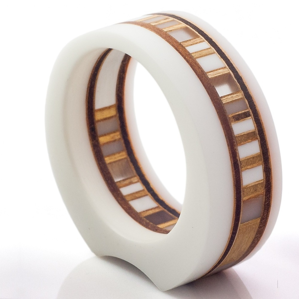 MABEL - Designer Bangle, white & translucent acrylic, natural plywood, 1'' wide