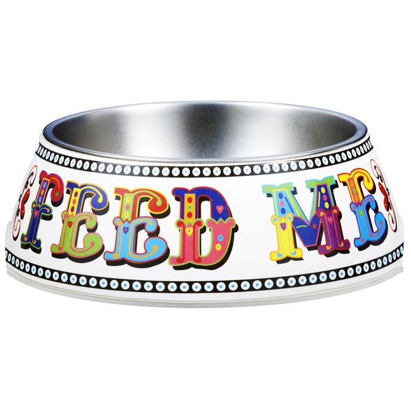 Carni folk design dog bowl 'Feed Me'