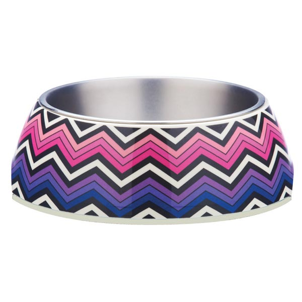 Pink Zig Zag Design Pet Bowl by Gummi Pets