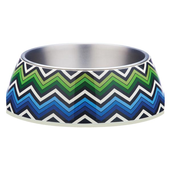 Blue Zig Zag Design Pet Bowl by Gummi Pets