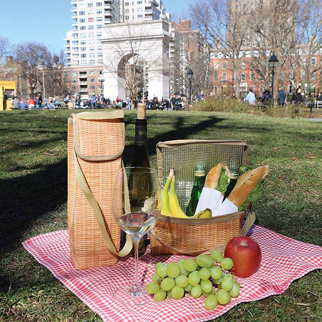 KIKKERLAND | Picnic Lunch Box and Wine Cooler Set | Wicker