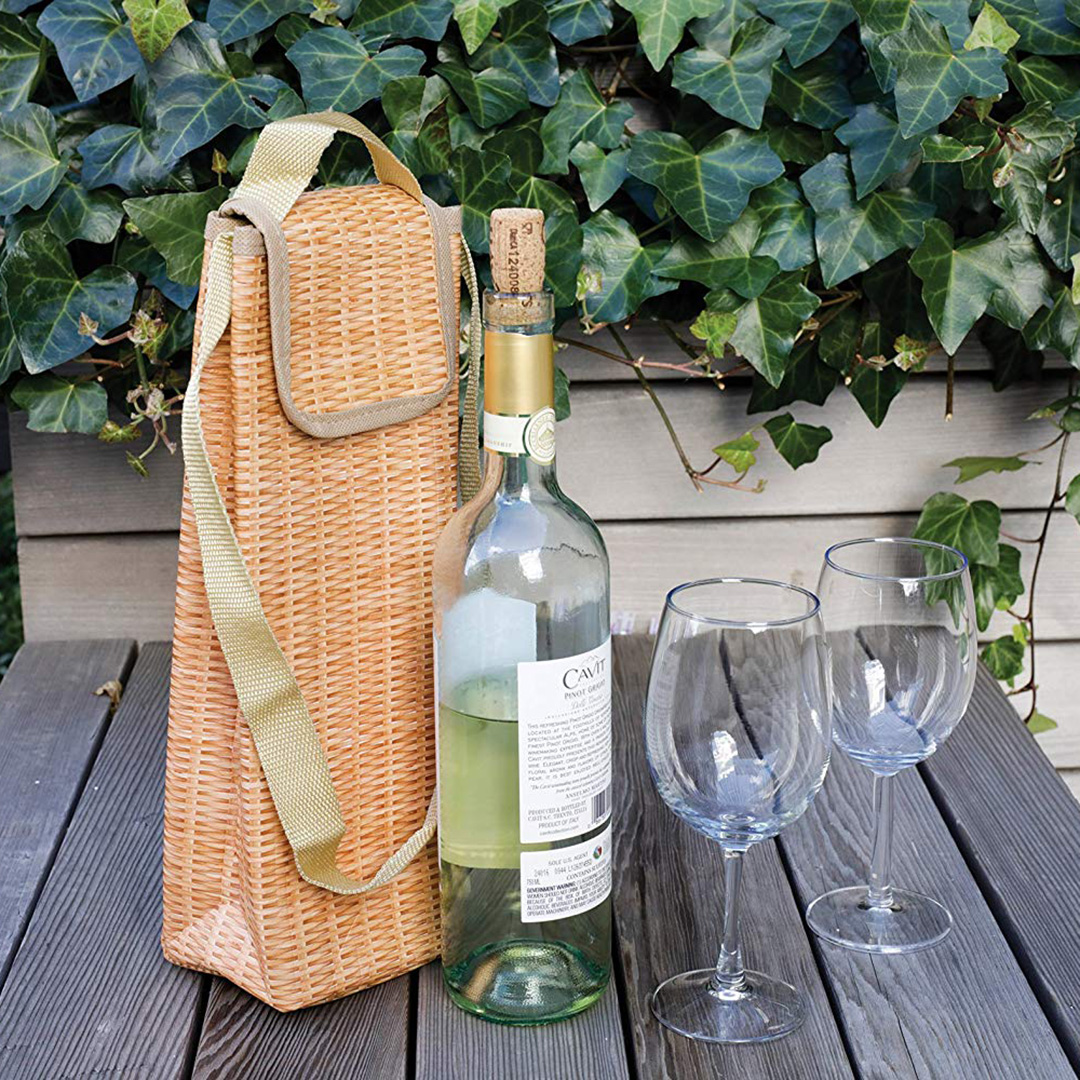 Wicker print insulated wine cooler by Kikkerland | The Design Gift Shop (bottle and glasses not included)