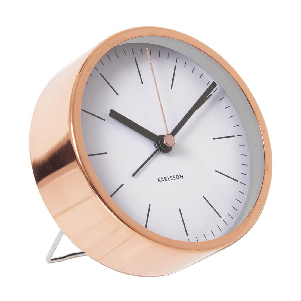 KARLSSON Minimal alarm clock with copper case and white dial | the design gift shop