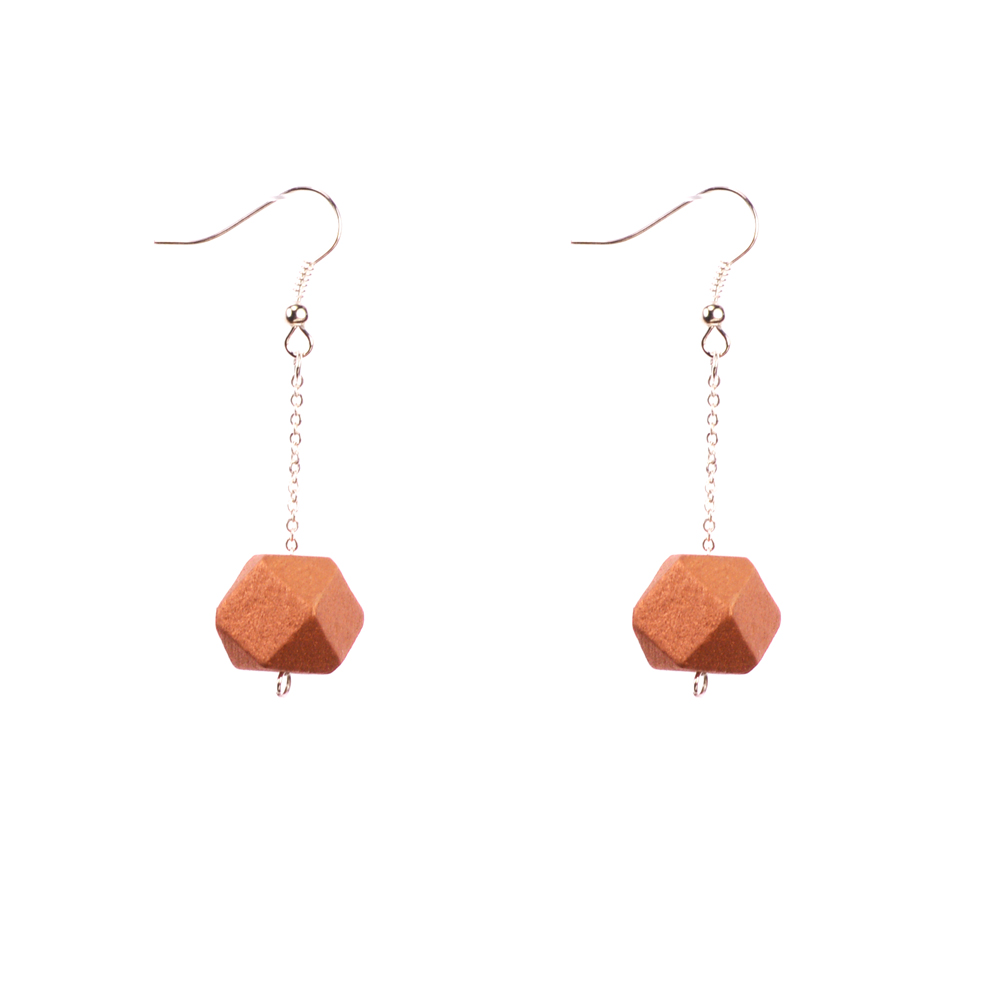 Mon Bijou - Drop Earrings - Copper Geometric Faceted Beads   The Design Gift Shop