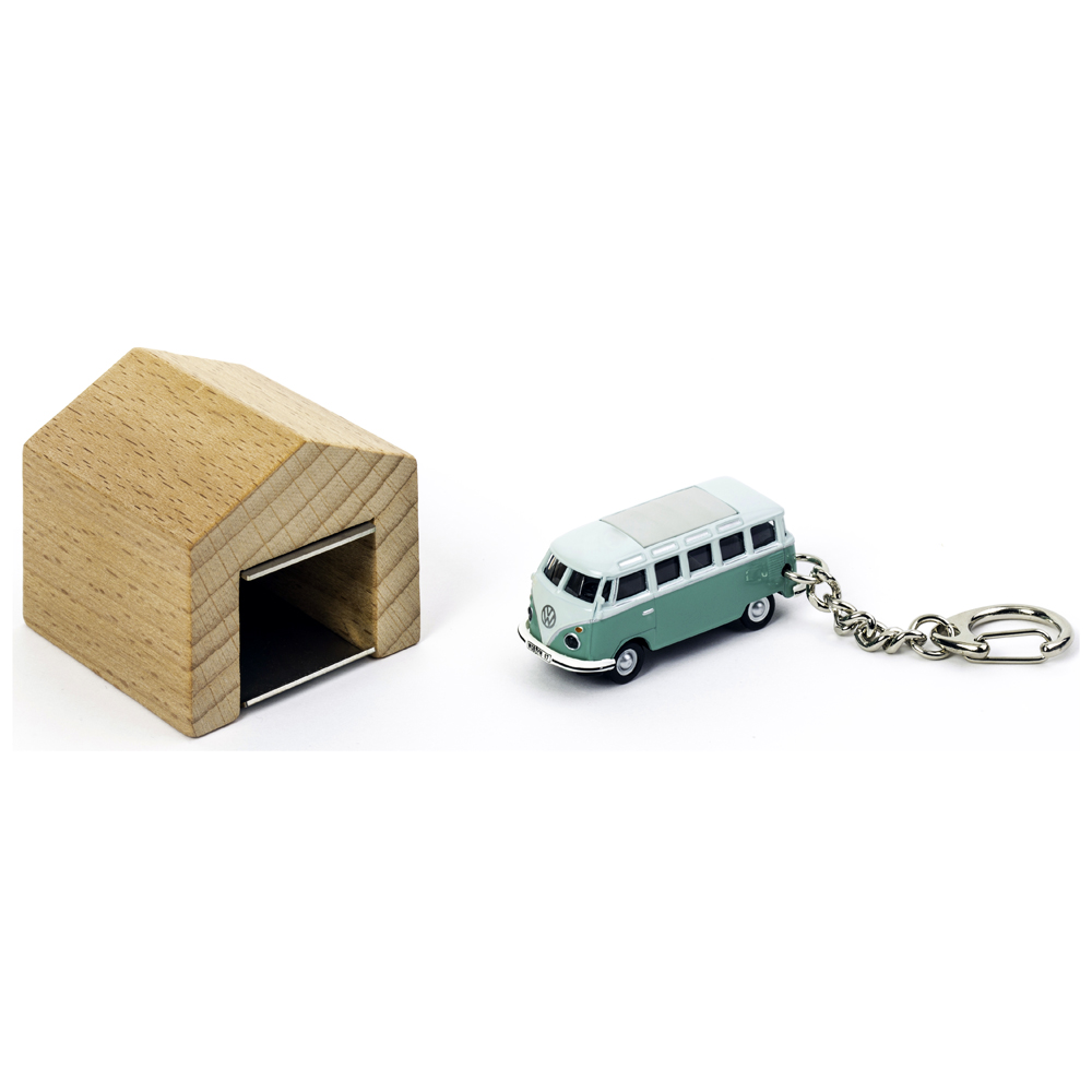VW Samba keyring with beech wood garage | the design gift shop