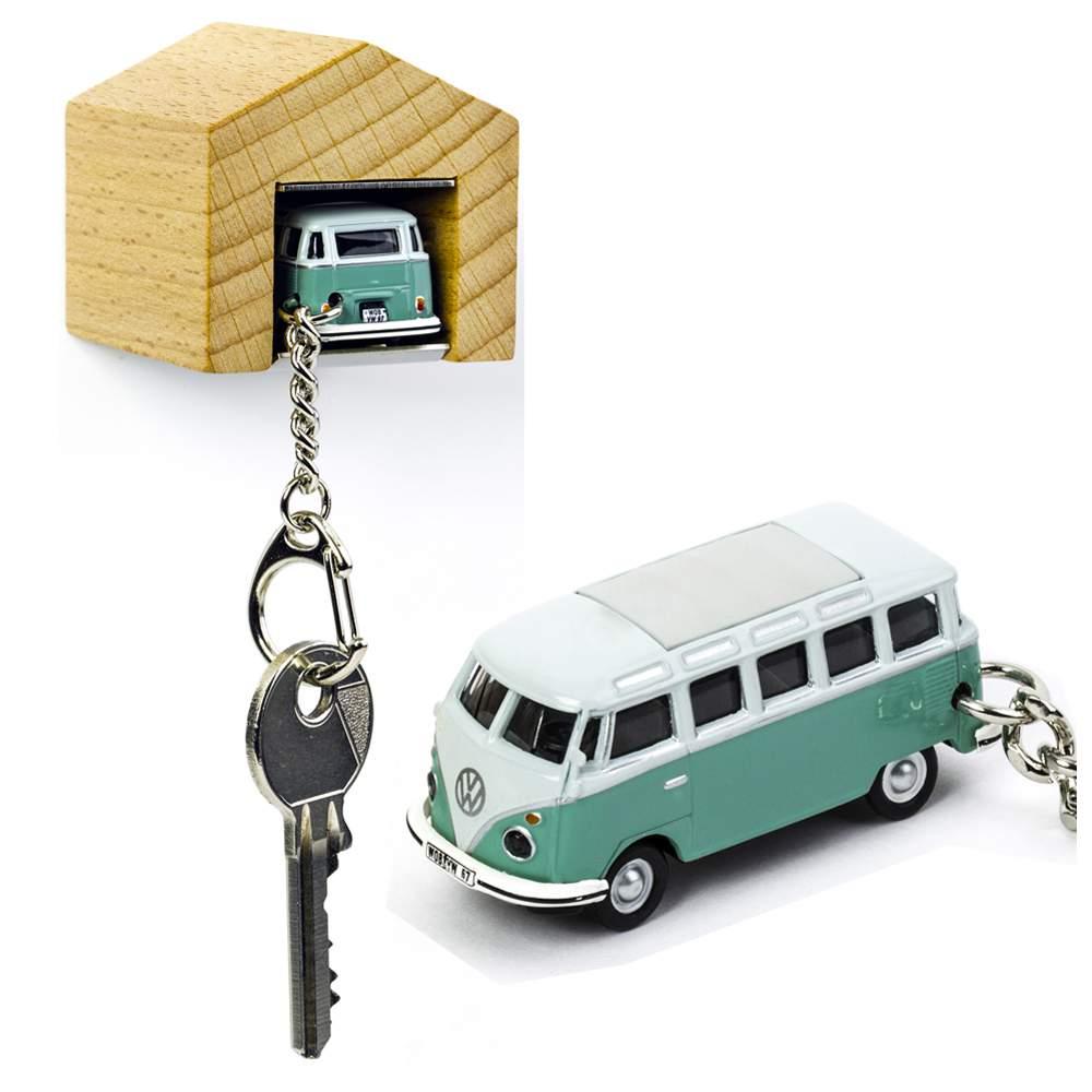 VW Bus Samba T1 turquoise keyring with beech wood garage | the design gift shop