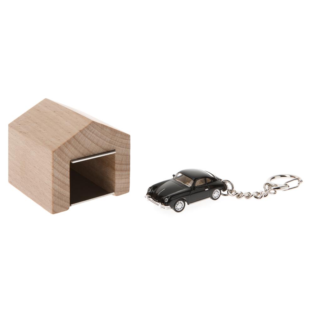 Porsche 356 A keyring with beech wood garage | The Design Gift Shop