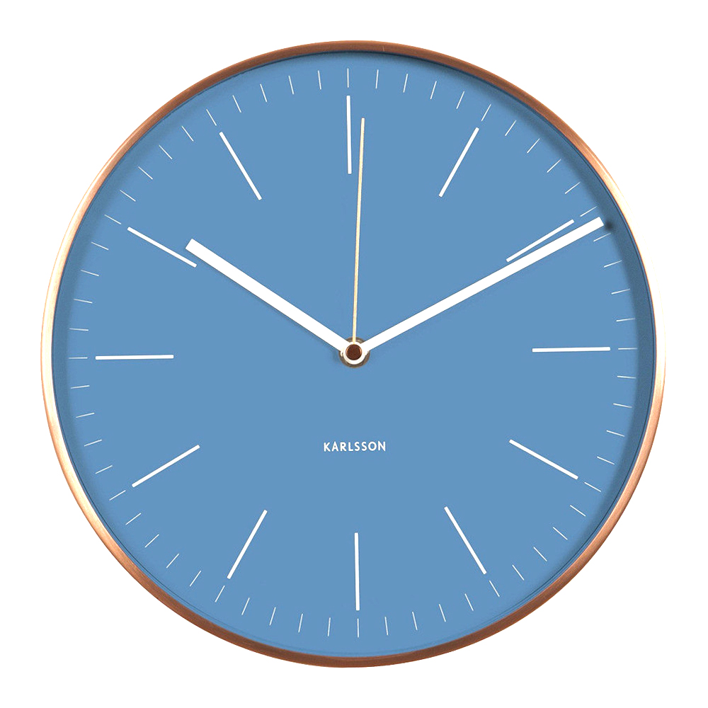 KARLSSON Minimal wall clock with blue dial and copper case ( diameter 27.5cm) | The Design Gift Shop