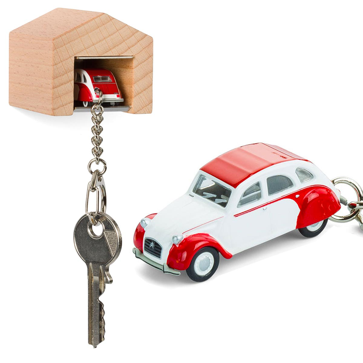 Citroen 2CV Dolly keyring with beech wood garage | The Design Gift Shop