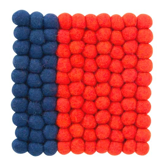 Square felt trivet in blue and red   The Design Gift Shop