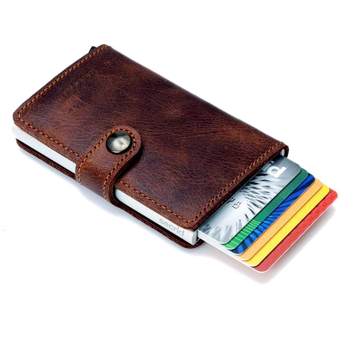 Secrid RFID secure credit card miniwallet vintage brown leather | The Design Gift Shop