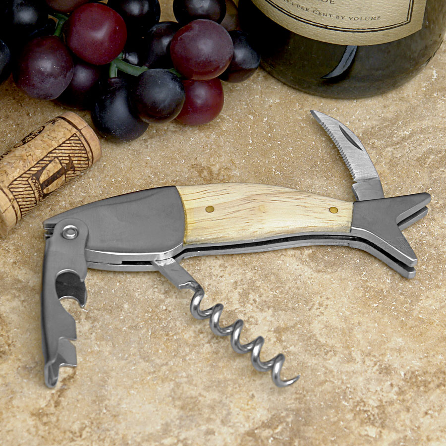 Kikkerland lightwood fish corkscrew | The Design Gift Shop