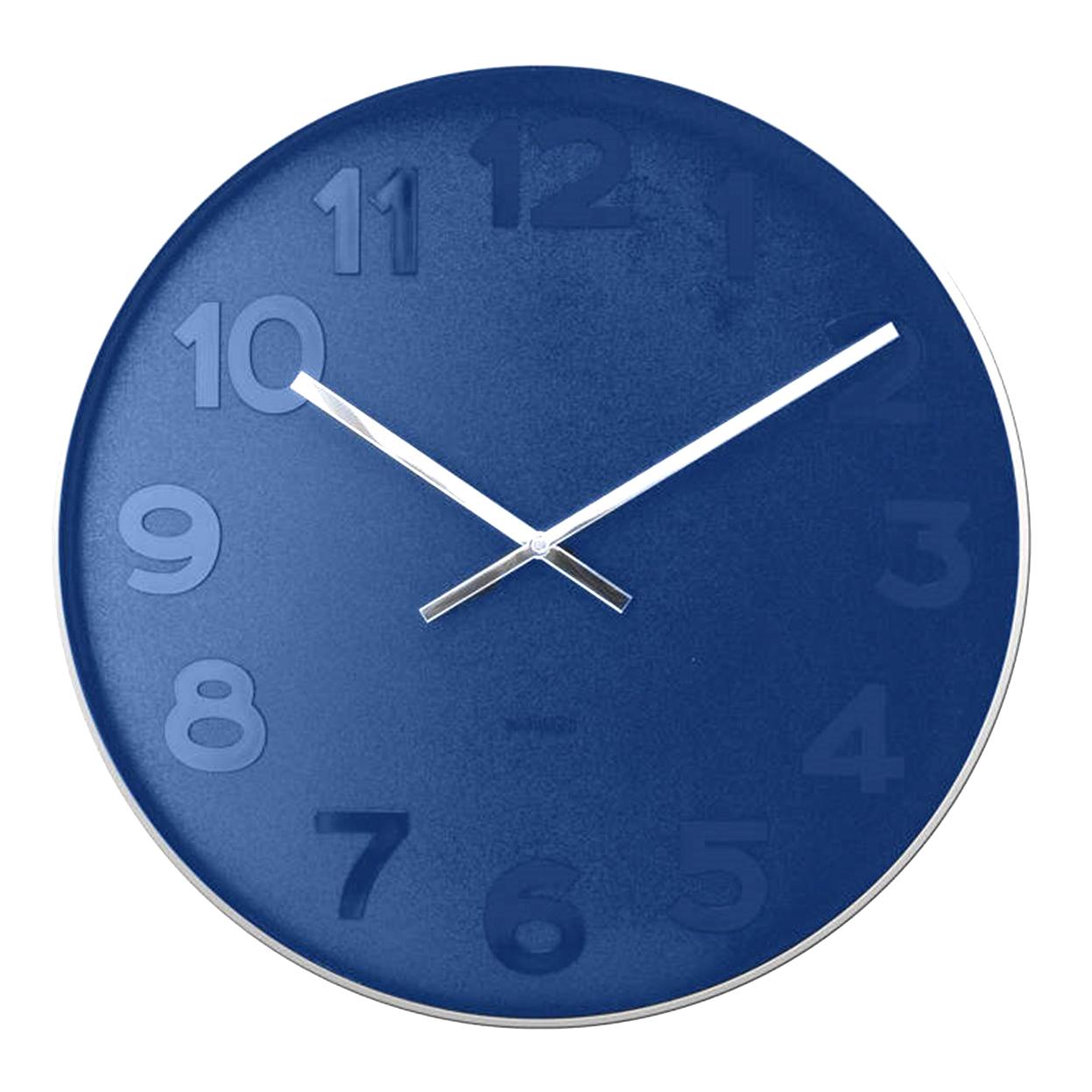 Karlsson Mr Blue numbers steel rim wall clock - Ø 37.5 x 6 cm | The Design Gift Shop